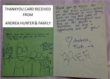 Andrea Hunter's Family Thankyou Card