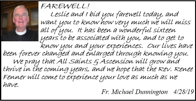 Fr Dunnington Farewell Message