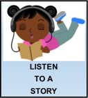 Kids Corner Button-Listen to a Story Clip Art