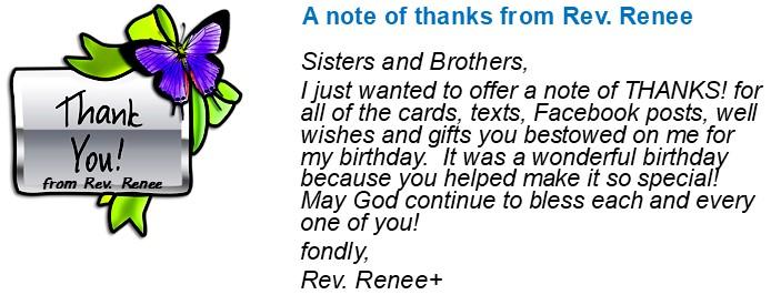 Birthday Thanks from Rev Renee