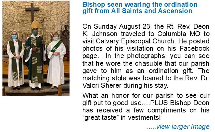 Bishop Deon Wears Chasuble Gift