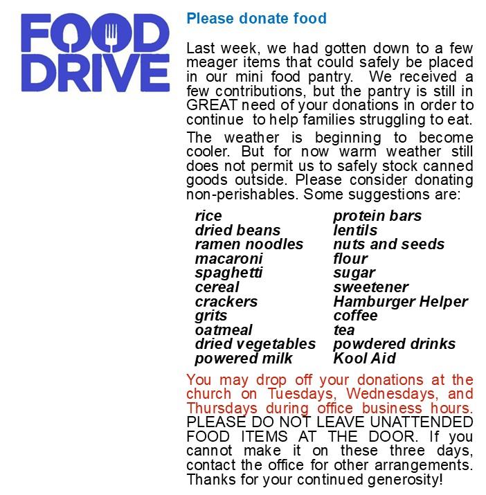Food Pantry 2020 Food Drive - COVID 19 rev6