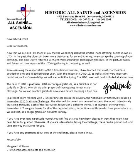 UTO Letter to Parish 2020 PHOTO VIEW rev1