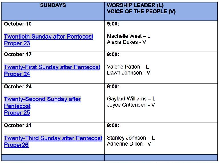 Worship Leader Schedule -October 2021 (PHOTO VIEW)